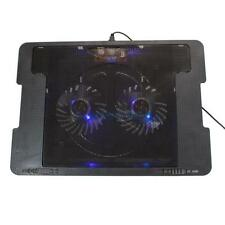 "9""-17"" 2 USB Fan LED Tablet Laptop Cooling Cooler Foldable Stand Pad Black HK"
