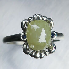 2.12ct Yellow Green Opaque Diamond Rose Cut 9ct 375 white gold engagement ring