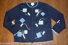 CHRISTOPHER & BANKS - EMBELLISHED QUILTING MOTIF CARDIGAN – MISSES M