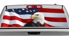 Truck Rear Window Decal Graphic [US Flag 1 Eagle Centered] 20x65in DC28408
