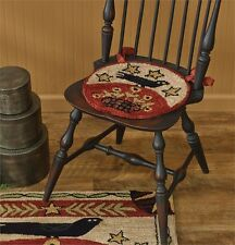 New Primitive Folk Art Black CROW STAR Wool Hooked Rug Chair Pad Seat Cushion