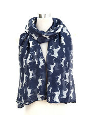 New Navy Blue Horse Print Maxi Scarf Wrap Shawl Sarong at Wholesale Price