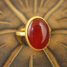 Handmade Ancient Turkish Jewelry Large Carnelian Ring Gold Over Sterling Silver