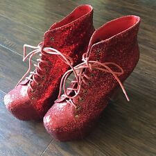 Jeffrey Campbell Red Glitter Lace Up Platform Lita Pumps Booties 9