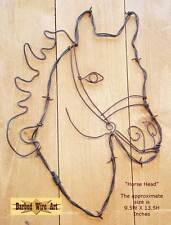 Horse Head - handmade metal decor barbed wire art farm rodeo country ranch