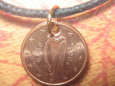 LUCKY COPPER IRISH IRELAND CELTIC EURO HARP COIN PENDANT CHARM NECKLACE