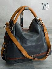 Made in Italy edle Schulter Damen Hand Tasche ECHT LEDER mit Prägung Grau  911G