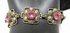Art Deco HOBE Sterling Silver & Pink Paste Rhinestones Flowers Panel Bracelet