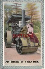 "1910 STEAMROLLER ""Am detained on a slow train."" Man Kissing Woman, Bamforth"
