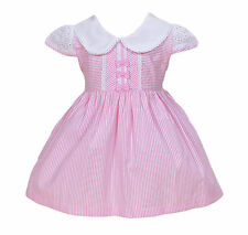 New Baby Girls White and Pink Striped Cotton Party Dress 5-6 Years