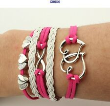 New Fashion Leather Cute Infinity Charm Bracelet Silver lots Style Jewelry
