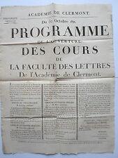 Affiche PROGRAMME ouverture COURS FACULTE des  LETTRES ACADEMIE CLERMONT 1811