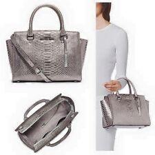 Michael kors selma embossed Python leather Dark Silver medium satchel NWT 348