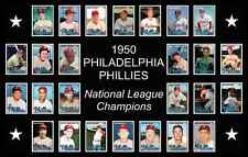1950 Philadelphia Phillies World Series Baseball Card Poster 17x11 Unique Decor