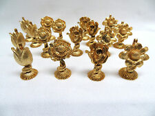 16 Piece Vintage 1970's 24k Gold Plated Ormolu Gilt Metal Placecard Holders