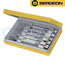 Bergeon 2868 Set of 5 Watchmaker's Chrome Plated Screwdrivers w/ Spare Blades