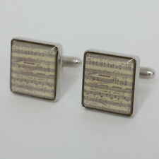 Classical sheet musical square silver tone cufflinks, signed www.cuff... Lot 96J