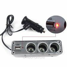 3 Way12V Multi Socket Car Cigarette Lighter Splitter USB DC Charger Adapter