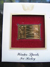 ICE HOCKEY WINTER SPORTS replica FDI 22kt Gold Golden Cover Stamp FDC 2002