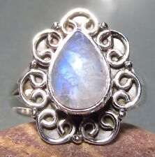 Sterling silver everyday rainbow moonstone ring UK M½-¾/US 6.75