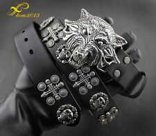 Cool! Wolf Head Metal Buckle Punk Biker Rocker Skull Mens Rivet Leather Belt