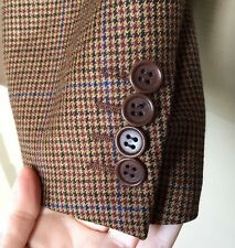 Men's Canali Made in Italy Brown Check Blazer Jacket Size EU 54 US 46 100% Wool