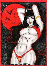 VAMPIRELLA BY artist JJ SILVA- ART PINUP Drawing Original COMIC