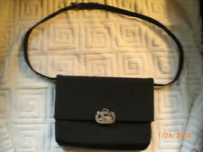 celine black cloth and leather shoulder bag with horse logo clasp italy