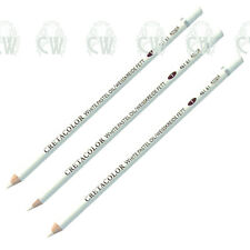 3 X Cretacolor Artists WHITE Oil Pastel Pencils. Quality for Drawing & Sketching