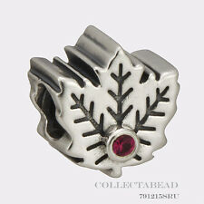 Authentic Pandora Sterling Silver Synthetic Ruby Maple Leaf Bead 791215SRU
