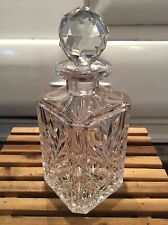VINTAGE BEAUTIFUL DESIGN CUT GLASS VERY HEAVY CRYSTAL DECANTER. Breweriana! (2)