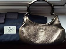 **PRADA GRAIN LEATHER BAG HANDBAG PEWTER TAUPE GOLD PURSE SAC SILVER HARDWARE
