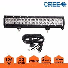 20inch 126W CREE LED WORK LIGHT BAR FOG SUV Jeep+ 1pc Wiring Harness For 72-300W