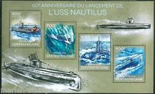 CENTRAL AFRICA 2014 60th ANNIVERSARY LAUNCH OF NAUTILUS SUBMARINE SHEET MINT NH