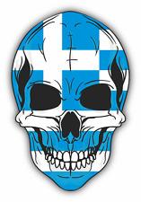 "Skull Flag Greece Car Bumper Sticker 4"" x 5"""