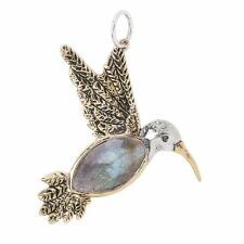 WAXING POETIC Bronze & Silver FLY LIGHTLY Hummingbird Labradorite Pendant 2 1/8""