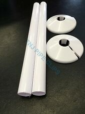 Q2 - 15mm Radiator Pipe Cover & Collar WHITE 200mm Long - Snappit - Radsnap Rad