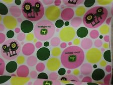 JOHN DEERE fabric POLKA DOT PINK TRACTOR FLANNEL FABRIC  CP54816 BTY NEW