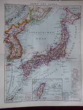 Landkarte von Japan und Korea, Thai-Wan, Formosa, Brockhaus 1904
