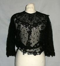Ancien corsage de femme vers 1910 , Belle Epoque , Dentelle & tulle brode noir