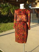 VINTAGE NINA RICCI SILK PRINT LONG SLEEVE COCKTAIL DRESS Sz 36