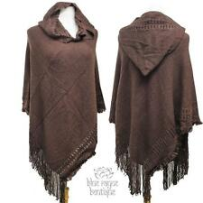Brown BoHo Hooded Acrylic Medium Knit Fringed Sweater Shawl Triangle Poncho
