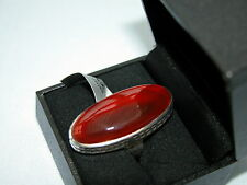 LOT 86 STUNNING LARGE RED ONYX SOLID STERLING SILVER RING SIZE J
