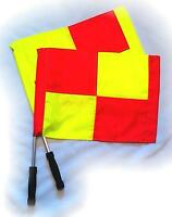 LINESMAN Flags Duo Pair Set Professional Referee Chequered  Football Red Yellow