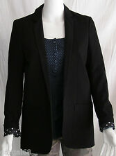 Women's Aeropostale Solid Black Blazer Polka Dot Lined Size Small