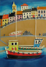 My Harbour Boat Ceramic Wall Art 20x30cm Seaside Picture Plaque Tile YH Arts