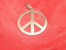 USA SELLER 30MM STAINLESS STEEL SILVER PEACE SIGN CHARM PENDANT NECKLACE