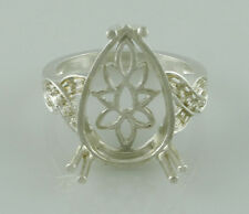 Semi Mount Ring Pear Stone Customize Gemstone in sterling Silver Female Jewelry