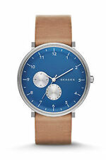 New Skagen Men's SKW6167 Hald Multi-Function Blue Dial Brown Tan Leather Watch