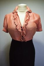SEXY TOP BLOUSE SHIRT CORAL COTTON SILK PREPPY 1940s SECRETARY MISTRESS 10 12